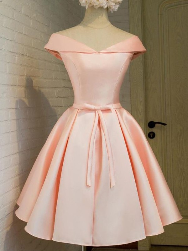 A-Line/Princess Pink Satin Short/Mini Homecoming Dresses with Sash/Ribbon/Belt