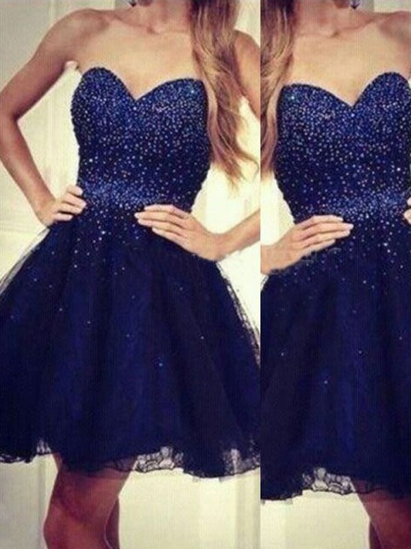 A-Line/Princess Dark Navy Tulle Short/Mini Homecoming Dresses with Beading