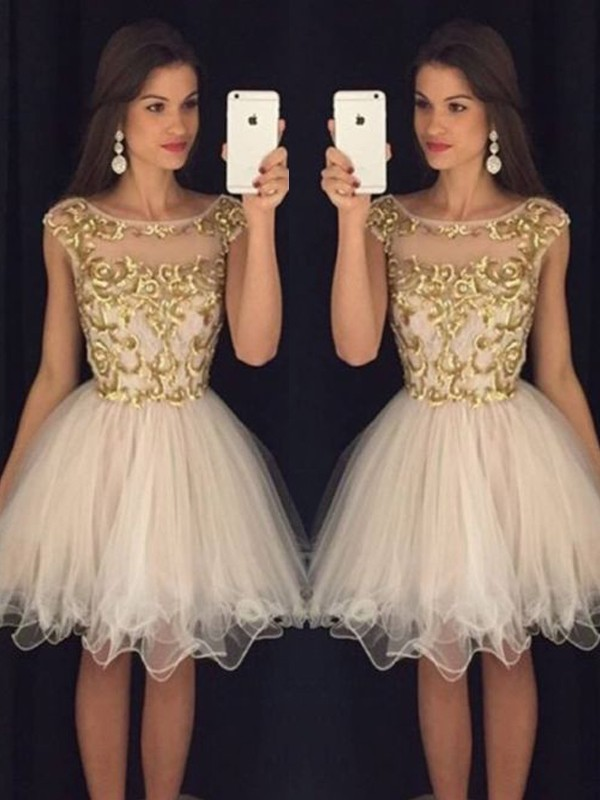 A-Line/Princess Champagne Tulle Short/Mini Homecoming Dresses with Paillette