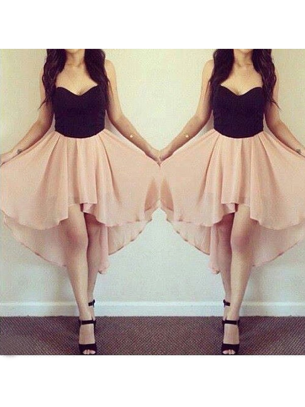 A-Line/Princess Pink Chiffon Short/Mini Homecoming Dresses