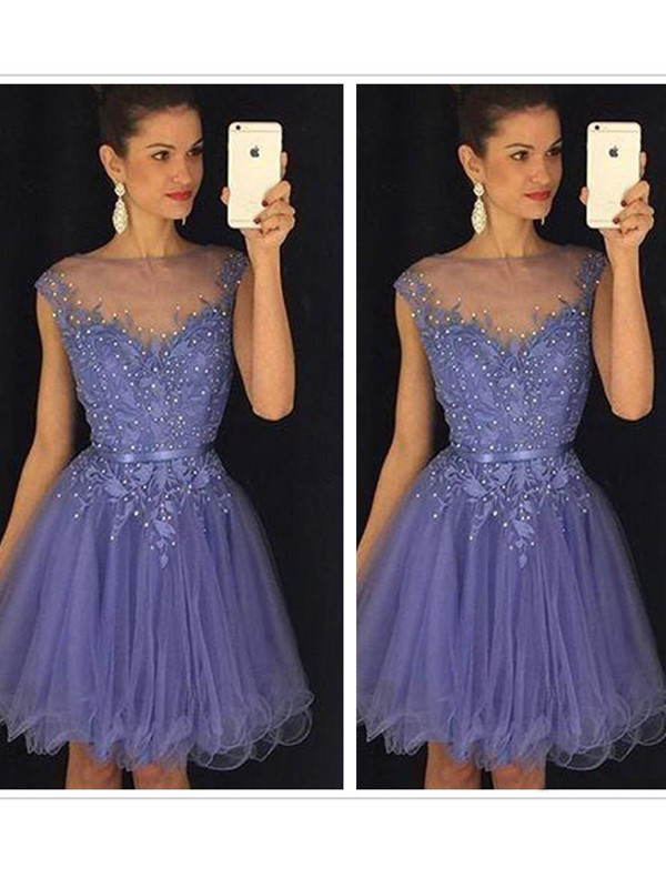A-Line/Princess Blue Tulle Short/Mini Homecoming Dresses with Applique