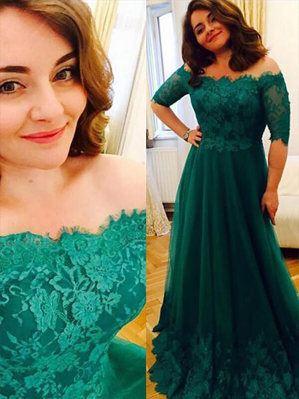 A-Line/Princess Green Tulle Floor-Length Dresses with Applique