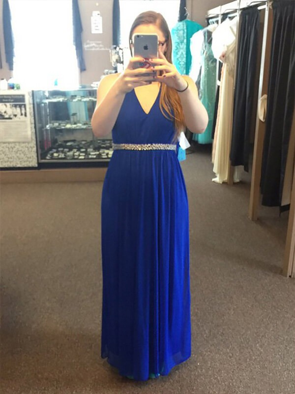A-Line/Princess Royal Blue Chiffon Floor-Length Dresses with Beading