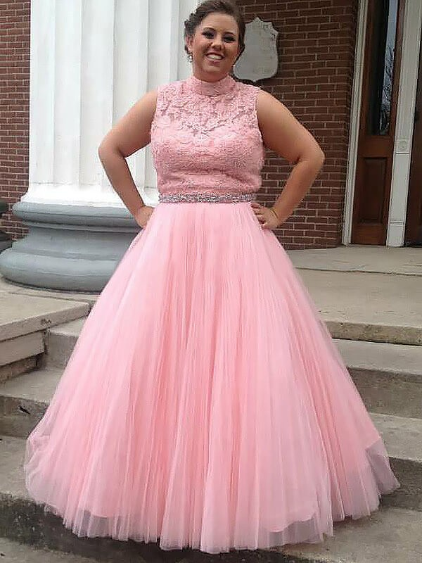 Ball Gown Pink Tulle Floor-Length Dresses with Applique