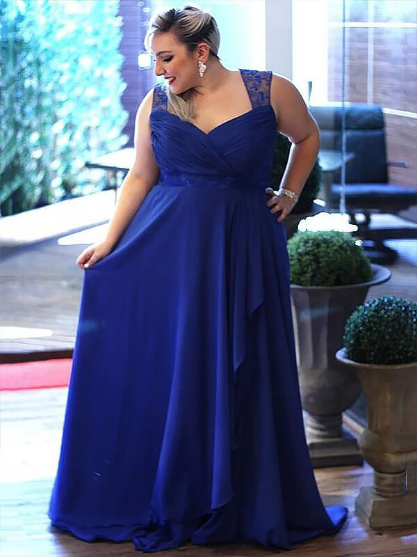 A-Line/Princess Royal Blue Chiffon Sweep/Brush Train Dresses with Lace
