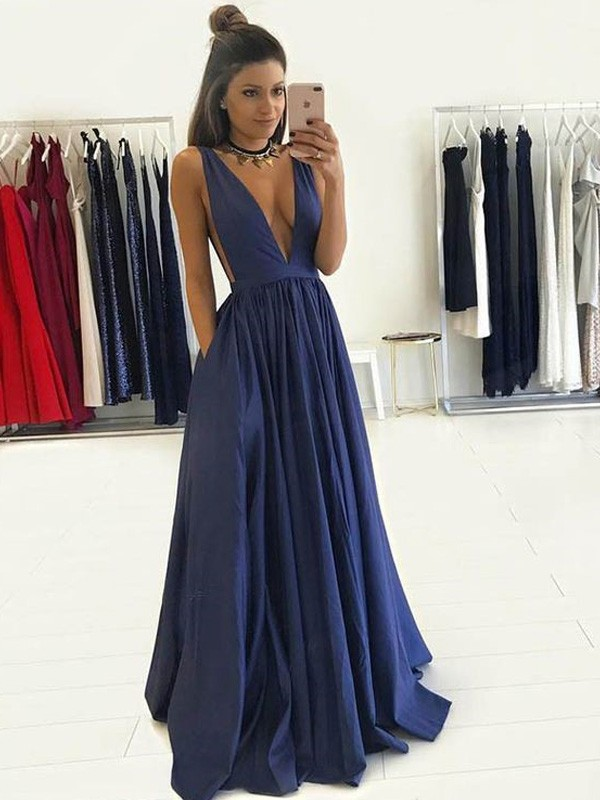 A-Line/Princess Dark Navy Taffeta Floor-Length Dresses