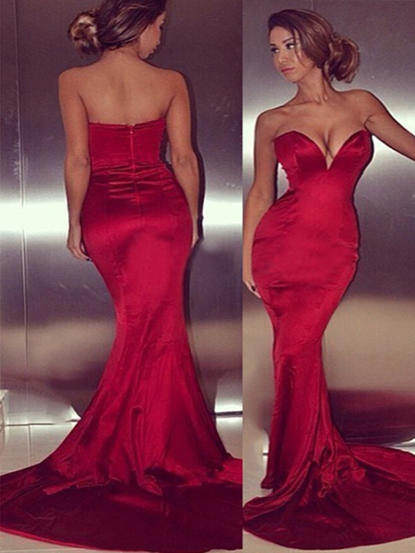 Trumpet/Mermaid Red Satin Court Train Dresses with Other