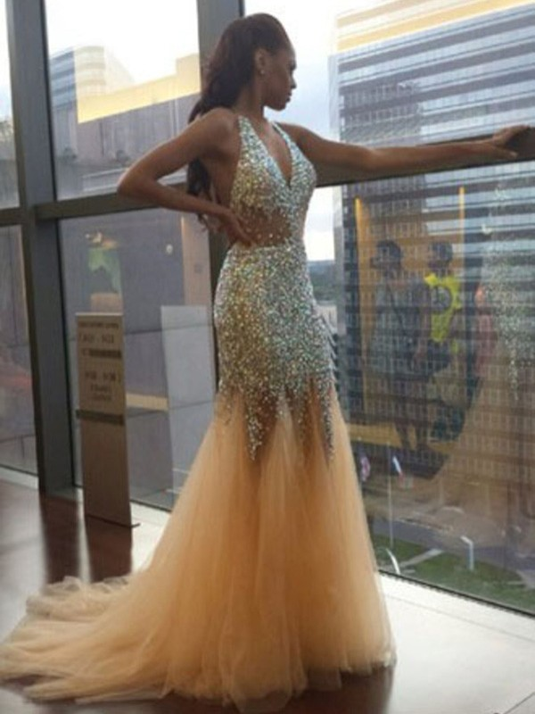 Trumpet/Mermaid Champagne Tulle Court Train Dresses with Sequin