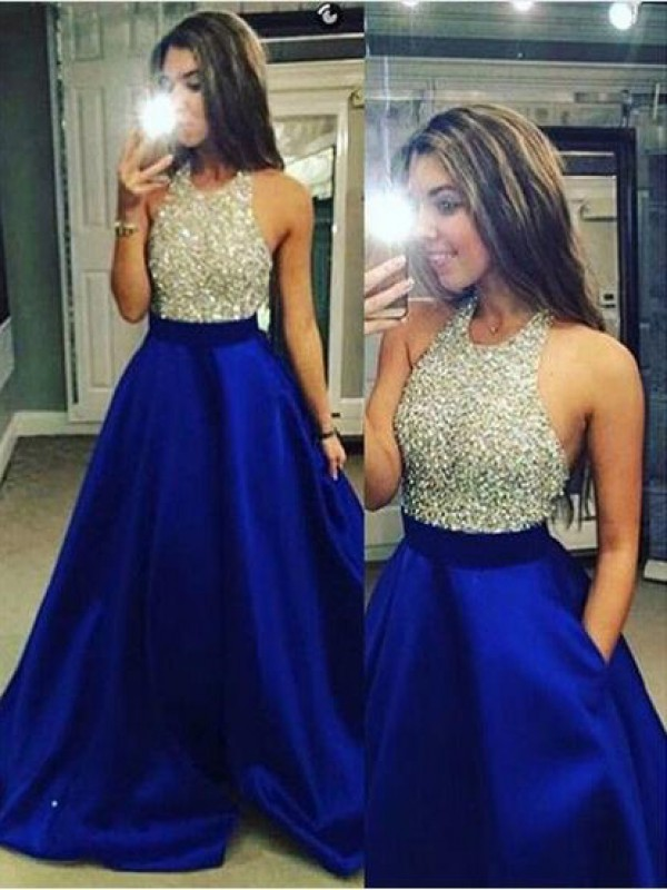 Ball Gown Royal Blue Satin Floor-Length Dresses with Crystal