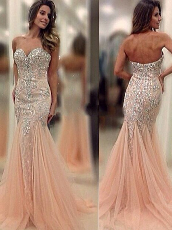 Trumpet/Mermaid Pearl Pink Tulle Sweep/Brush Train Dresses with Beading