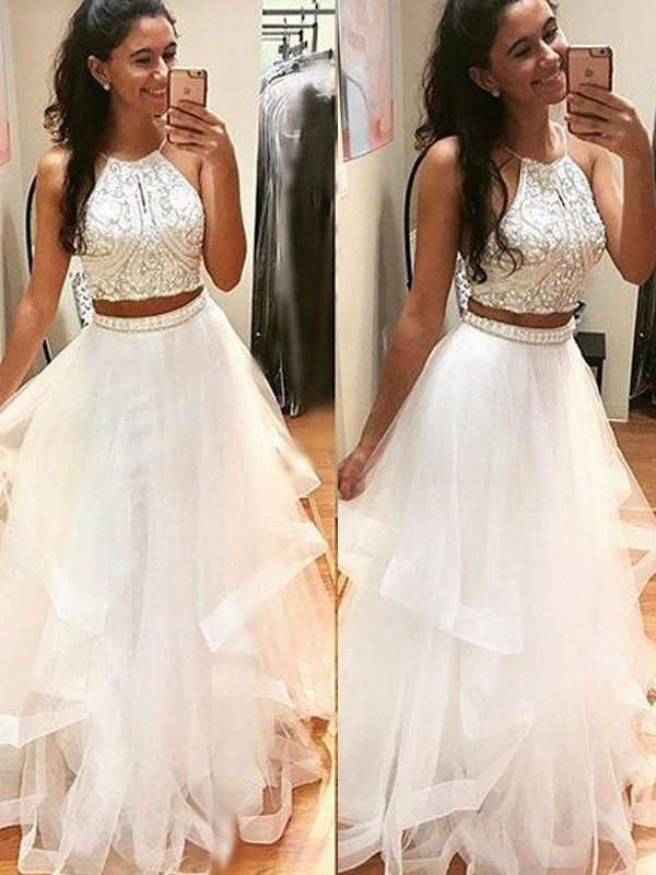 A-Line/Princess White Tulle Floor-Length Dresses with Beading