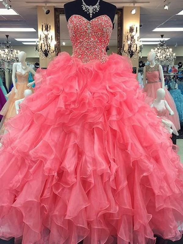 Ball Gown Watermelon Organza Floor-Length Dresses with Beading