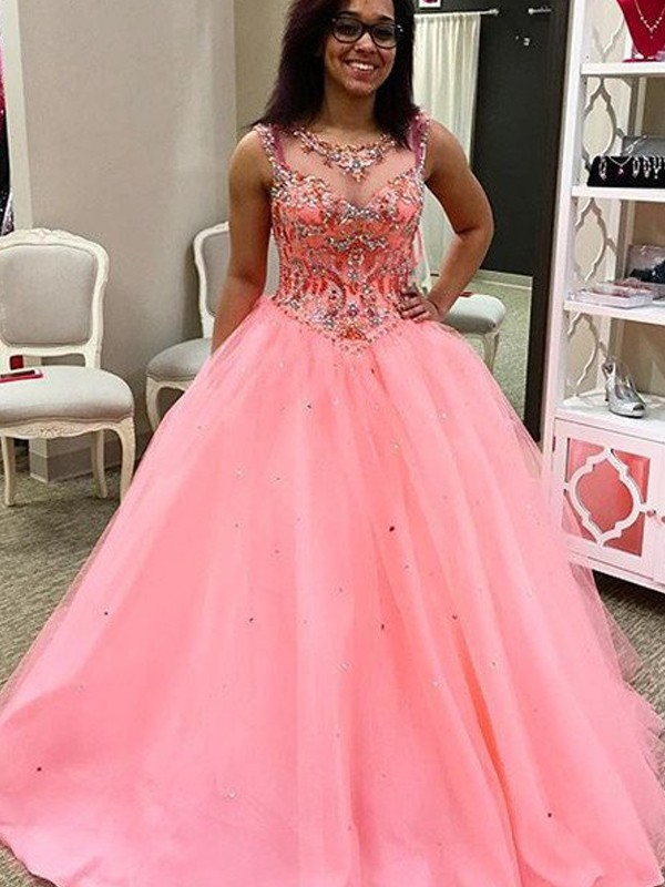 Ball Gown Watermelon Tulle Floor-Length Dresses with Beading