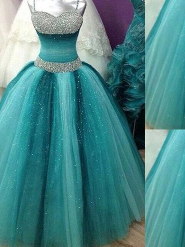 Ball Gown Blue Tulle Floor-Length Dresses with Beading