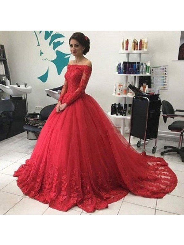 Ball Gown Red Tulle Sweep/Brush Train Dresses with Lace