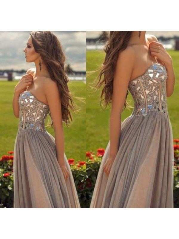 A-Line/Princess Champagne Chiffon Floor-Length Dresses with Beading