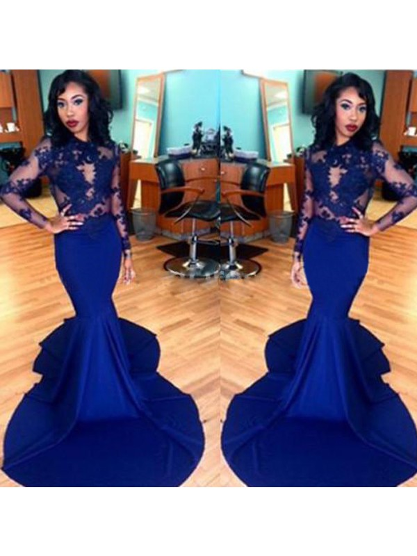 Trumpet/Mermaid Royal Blue Satin Sweep/Brush Train Dresses with Lace