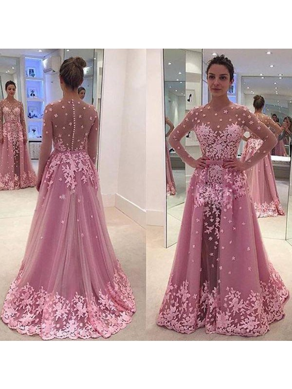 A-Line/Princess Pink Tulle Floor-Length Dresses with Applique