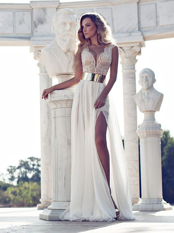 A-Line/Princess White Chiffon Floor-Length Dresses with Lace