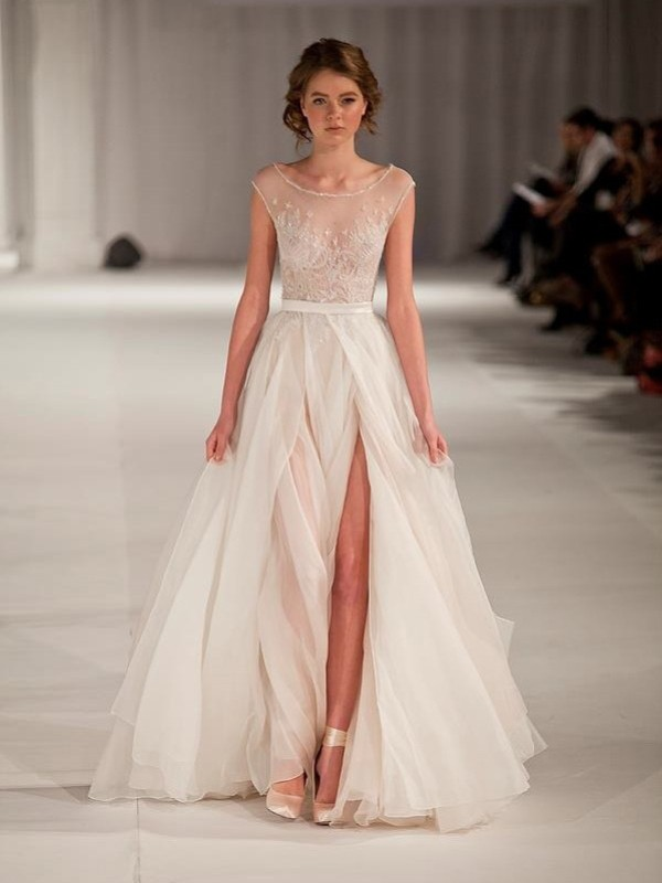 A-Line/Princess Ivory Organza Floor-Length Dresses with Beading