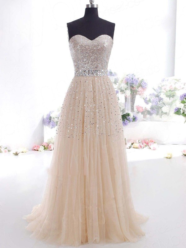 A-Line/Princess Champagne Tulle Floor-Length Dresses with Other