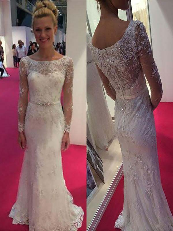 b925191c739 Sheath Column Scoop Long Sleeves Lace Chiffon Sweep Brush Train Wedding  Dresses