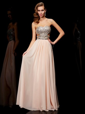 A-Line/Princess Pearl Pink Chiffon Floor-Length Dresses with Rhinestone