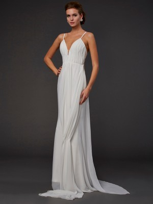 Trumpet/Mermaid White Chiffon Floor-Length Dresses with Ruffles