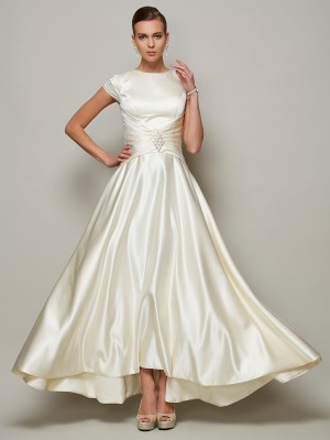 A-Line/Princess Ivory Satin Floor-Length Mother Of The Bride Dresses with Beading