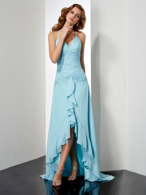 A-Line/Princess Blue Chiffon Asymmetrical Dresses with Beading