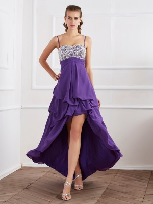 A-Line/Princess Regency Chiffon Asymmetrical Dresses with Beading