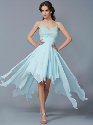 A-Line/Princess Blue Chiffon Asymmetrical Homecoming Dresses with Beading