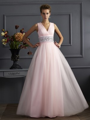 Ball Gown Pearl Pink Net Floor-Length Dresses with Beading