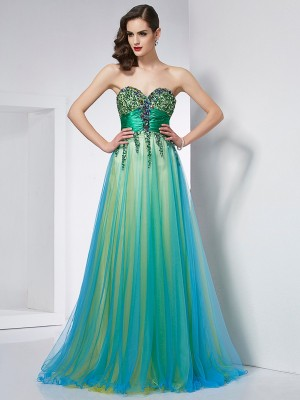 Ball Gown Green Elastic Woven Satin , Net Sweep/Brush Train Dresses with Ruffles