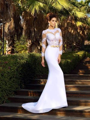 Sheath/Column White Satin Court Train Wedding Dresses with Applique