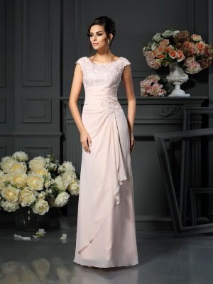 A-Line/Princess Pearl Pink Chiffon Floor-Length Mother Of The Bride Dresses with Lace