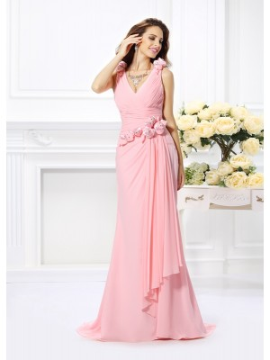 Trumpet/Mermaid Pink Chiffon Sweep/Brush Train Bridesmaid Dresses with Hand-Made Flower