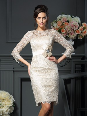Sheath/Column Champagne Lace Short/Mini Mother Of The Bride Dresses with Bowknot