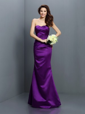 Trumpet/Mermaid Regency Satin Floor-Length Bridesmaid Dresses with Pleats