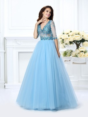 Ball Gown Light Sky Blue Satin Floor-Length Dresses with Beading