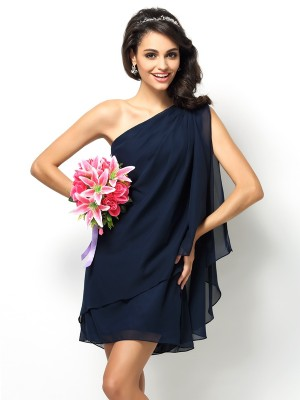 A-Line/Princess Dark Navy Chiffon Short/Mini Bridesmaid Dresses with Other