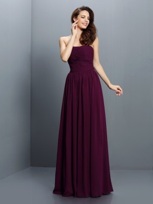 A-Line/Princess Grape Chiffon Floor-Length Bridesmaid Dresses with Pleats