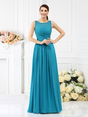 A-Line/Princess Blue Chiffon Floor-Length Bridesmaid Dresses with Pleats