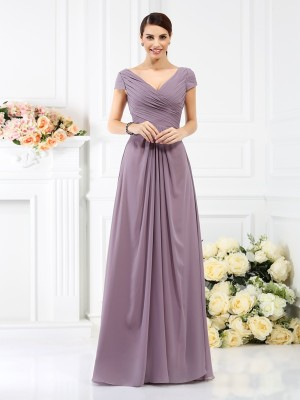 A-Line/Princess Brown Chiffon Floor-Length Bridesmaid Dresses with Pleats