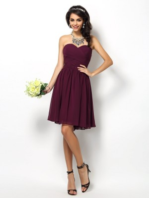A-Line/Princess Lilac Chiffon Short/Mini Bridesmaid Dresses with Pleats