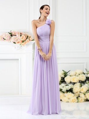 A-Line/Princess Lavender Chiffon Floor-Length Bridesmaid Dresses with Hand-Made Flower
