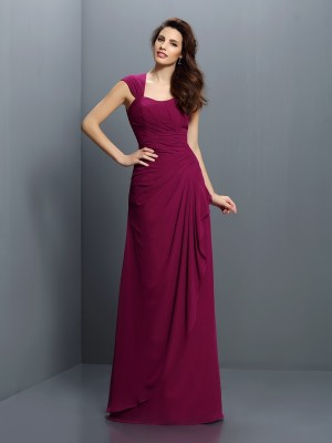 A-Line/Princess Burgundy Chiffon Floor-Length Bridesmaid Dresses with Pleats