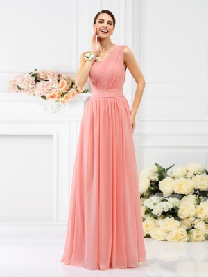 A-Line/Princess Pink Chiffon Floor-Length Bridesmaid Dresses with Pleats