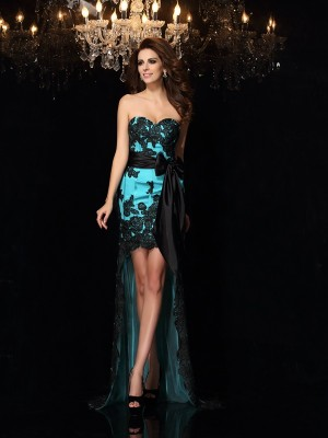Sheath/Column Blue Satin Asymmetrical Dresses with Bowknot