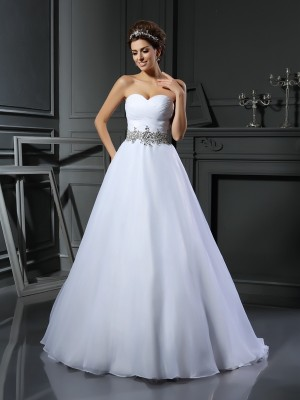 Ball Gown Ivory Satin Court Train Wedding Dresses with Beading